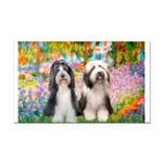 Garden / 2 Bearded Collie Rectangle Car Magnet