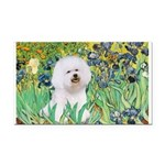 Irises and Bichon Rectangle Car Magnet