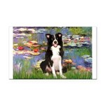 Lilies & Border Collie Rectangle Car Magnet
