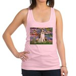 Borzoi in Monet's Lilies Racerback Tank Top