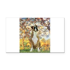 Spring with a Boxer Rectangle Car Magnet