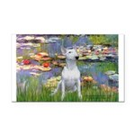 Lilies2-Bull Terrier (P) Rectangle Car Magnet