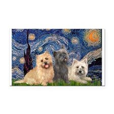 Starry/3 Cairn Terriers Rectangle Car Magnet