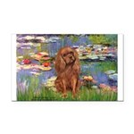 Lilies and Ruby Cavalier Rectangle Car Magnet