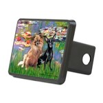 Lilies (2) & 2 Chihuahuas Rectangular Hitch Cover