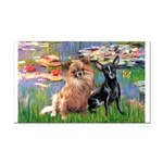 Lilies (2) & 2 Chihuahuas Rectangle Car Magnet