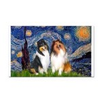 Starry Night / Collie pair Rectangle Car Magnet