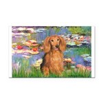 Lilies (2) & Doxie (LH-Sable) Rectangle Car Magnet