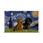 Starry Night Doxie Pair Rectangle Car Magnet