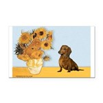 Sunflowres / Dachshund Rectangle Car Magnet