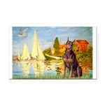 Regatta / Red Doberman Rectangle Car Magnet