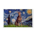Starry / Red Doberman Rectangle Car Magnet