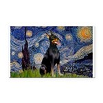 Starry Night Doberman Rectangle Car Magnet