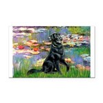 Lilies / Flat Coated Retrieve Rectangle Car Magnet