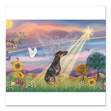 "Cloud Angel - Dobie (B) Square Car Magnet 3"" x 3"""