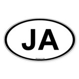 Int'l Country Code Oval Sticker: Jamaica (JA)