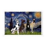 Starry / 4 Great Danes Rectangle Car Magnet