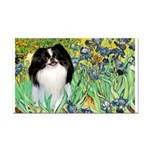 Irises/Japanese Chin Rectangle Car Magnet