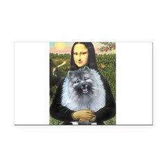 Mona Lisa / Keeshond (F) Rectangle Car Magnet