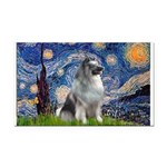 Starry / Keeshond Rectangle Car Magnet