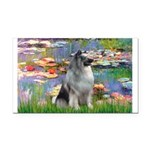 Lilies / Keeshond Rectangle Car Magnet