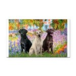 Monet's Garden & Lab Trio Rectangle Car Magnet