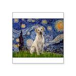 Starry Night Yellow Lab Square Sticker 3