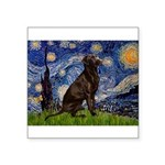Starry Chocolate Lab Square Sticker 3