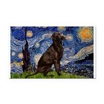 Starry Chocolate Lab Rectangle Car Magnet