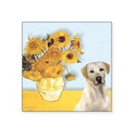Sunflowers-Yellow Lab 7 Square Sticker 3