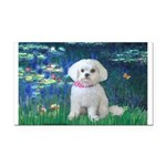 Lilies / Maltese Rectangle Car Magnet