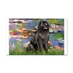 Lilies2-Newfie2 Rectangle Car Magnet