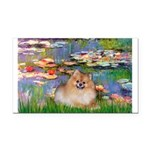 Lilies2/Pomeranian #4 Rectangle Car Magnet
