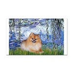 Lilies #6/Pomeranian #4 Rectangle Car Magnet