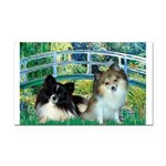 Bridge / 2 Pomeranians Rectangle Car Magnet