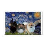 Starry/3 Pomeranians Rectangle Car Magnet