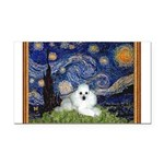 Starry Night / Poodle(w) Rectangle Car Magnet