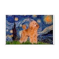Starry / Poodle (Apricot) Rectangle Car Magnet