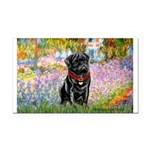 Garden / Black Pug Rectangle Car Magnet