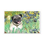 Irises / Pug Rectangle Car Magnet