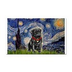 Starry Night / Black Pug Rectangle Car Magnet