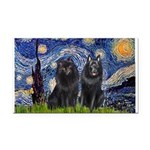 Starry Night & Schipperke Rectangle Car Magnet