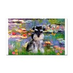 Lilies (#2)/Schnauzer Pup Rectangle Car Magnet