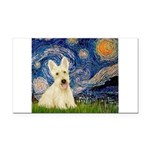 Starry Night / Scottie (w) Rectangle Car Magnet