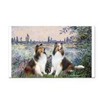 Seine / 2 Shelties (dl) Rectangle Car Magnet