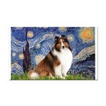 Starry Night / Sheltie (s&w) Rectangle Car Magnet