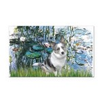 Lilies (#1) - Corgi (Bl.M) Rectangle Car Magnet