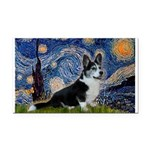 Starry Night / Welsh Corgi(bi Rectangle Car Magnet