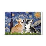 Starry Night / Corgi pair Rectangle Car Magnet