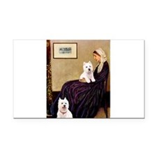 Whistlers Mom/2 Westies Rectangle Car Magnet